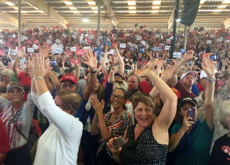 Supporters at a Donald Trump Rally in Ocala, FL, four weeks ahead of the November election. Photo: Renata Sago.