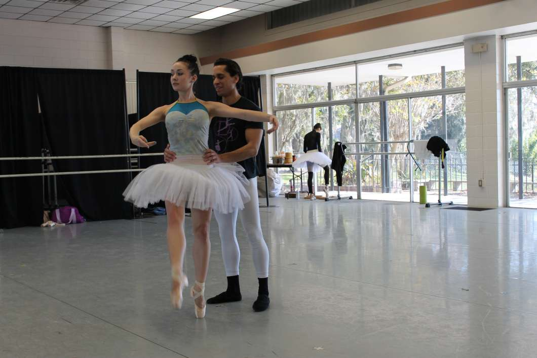 Andrea Harvey & Sebastien Serra rehearsing for the Nutcracker. Photo: Matthew Peddie, WMFE
