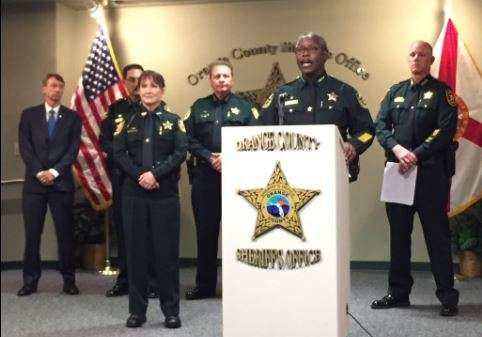 Florida Sheriffs Association President Jerry Demings alongside members of the organization. File photo, WMFE.