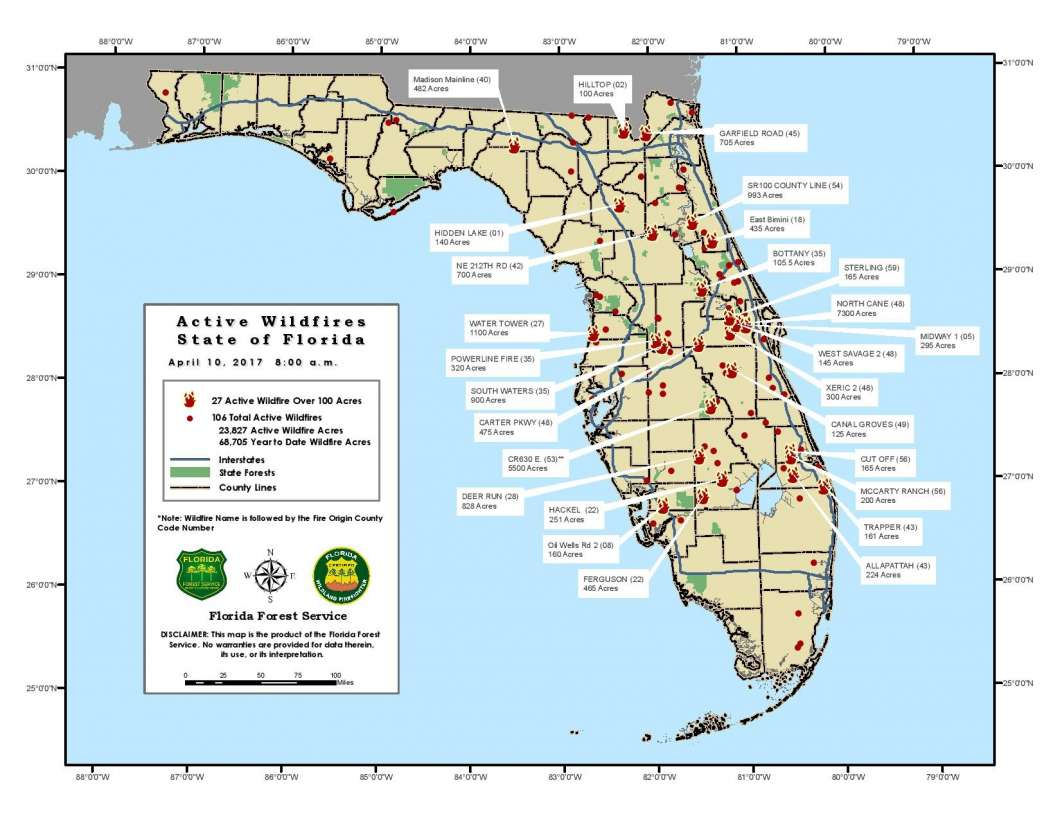 Florida Central Map.Wildfires Continue To Burn Across Central Florida Central Florida