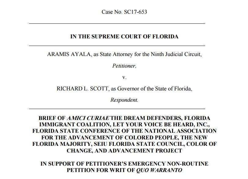 The eight national and state civil rights groups say Governor Rick Scott is undermining the will of ninth circuit voters who elected state attorney Aramis Ayala. Photo: Screenshot of Amicus Brief.
