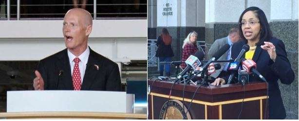 Ninth circuit Aramis Ayala and Governor Rick Scott were in a dispute over the handling of death penalty cases. File photos: WMFE.