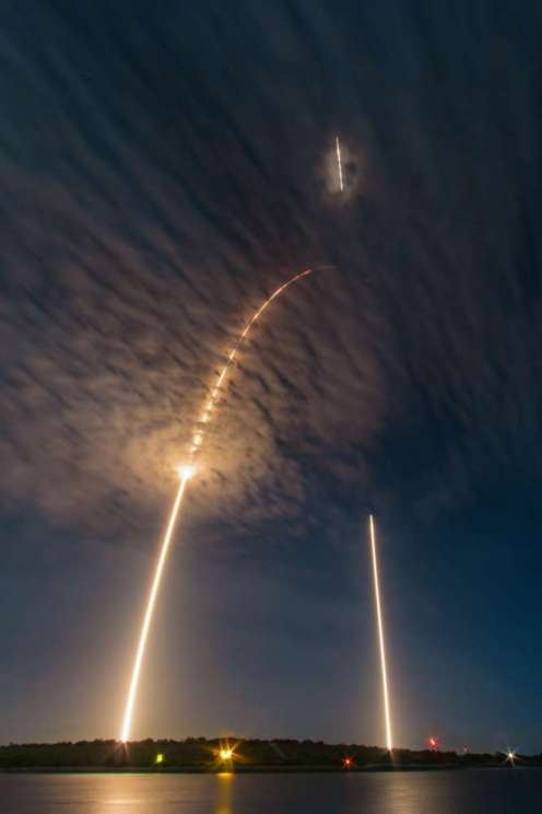 This is a single, 483 second exposure of the Falcon9 CRS9 rocket, launched (and landed!) at 12:45a on July 18, 2016 from CCAFS by Elon Musk and SpaceX. The streak to the left is the launch streak and then the straight line to the right shows the landing of the first stage of the Falcon9 rocket approximately 9 minutes after launch.