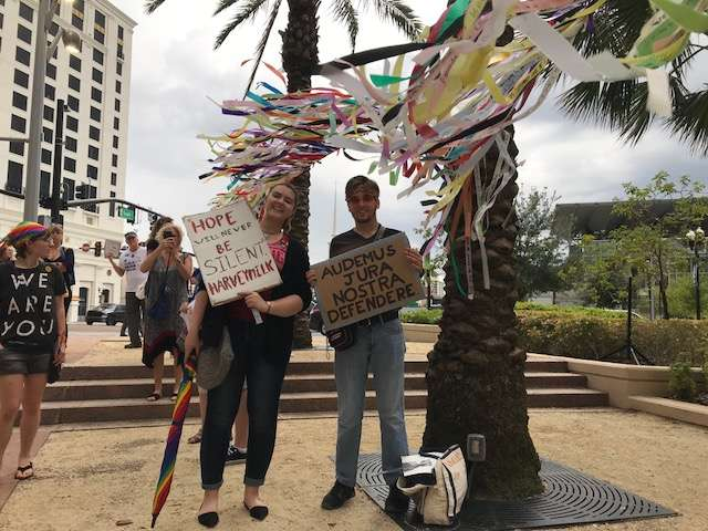 Protesters call for gun reform and anti-LGBTQ discrimination laws at the rally in front of Orlando City Hall. Photo: Danielle Prieur