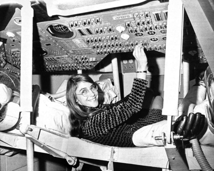 Margaret Hamilton, a computer programmer at the MIT Instrumentation Laboratory, in a mock-up of the Apollo command module.