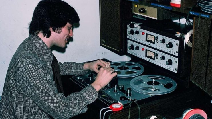 Jay Kernis edits tape for a story at NPR in the late 1970s. He left <em>Morning Edition</em> in 1985. Kernis is now a producer for CBS' <em>Sunday Morning.</em>