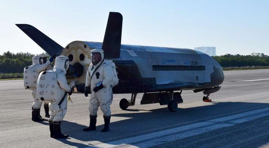 X-37B after landing at the Space Shuttle Landing Facility at Kennedy Space Center in 2017