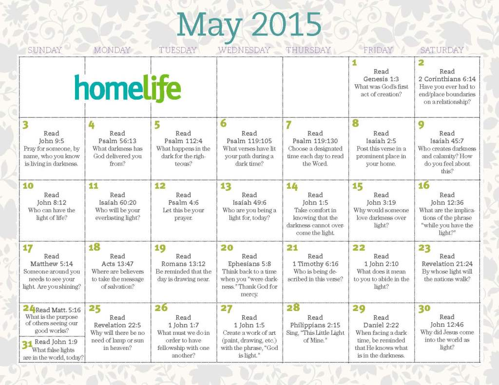 May Family Time Calendar and Scripture Art