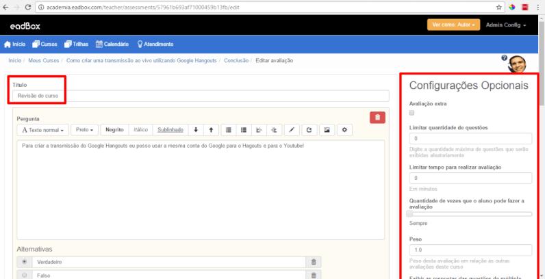 Configurar avaliações plataforma eadbox