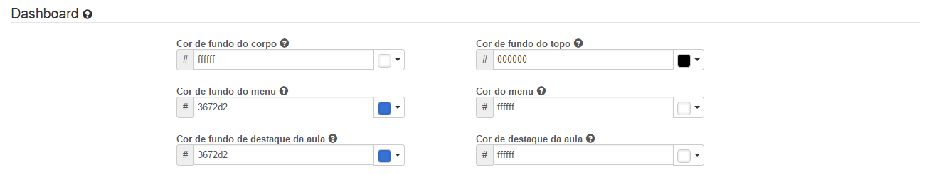 Personalizar as cores da dashboard.