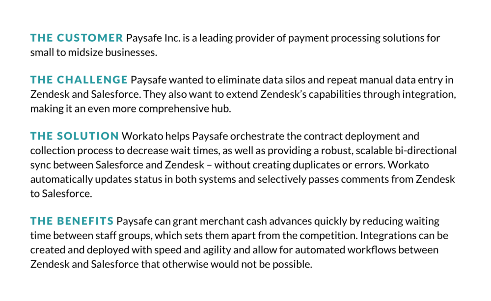 How Paysafe Extended Zendesk's Capabilities with Workato for