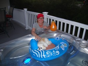 dog in hot tub