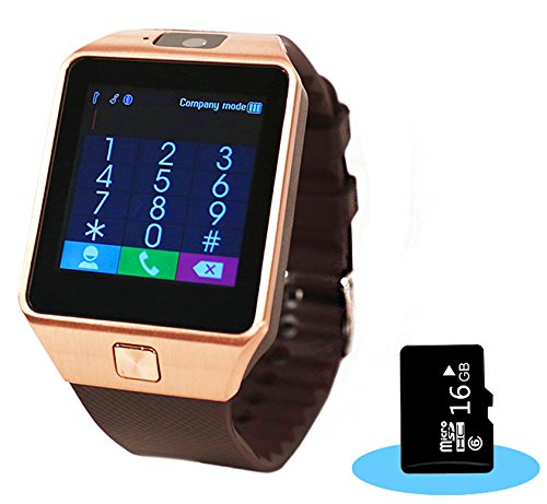 Aipker 1.56-Inch Touch Screen Smart Watch Phone with Camera and 16GB SD Card for Andriod SmartPhones – Golden