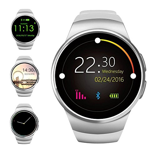 Bluetooth Smart WatchEvershop 1.3 inches IPS Round Touch Screen Water Resistant Smartwatch Phone with SIM Card SlotSleep MonitorHeart