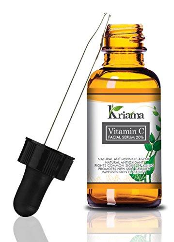 Kriama Vitamin C Serum – Anti Wrinkle, Anti Aging Serum – 20% Vitamin C & Hyaluronic Acid – Reduces Lines, Wrinkles, Under-Eye Bags, Skin Discoloration & Pigmentation – For Younger, Glowing Skin – 1Oz
