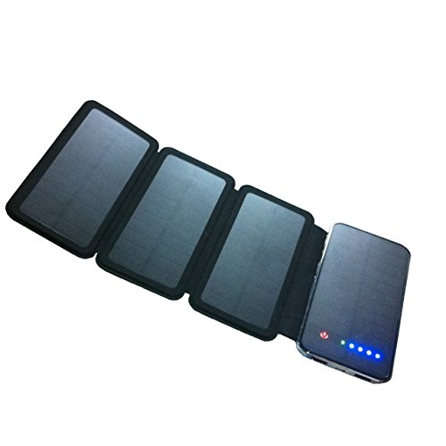 Solar Charger Powerful Portable Phone Charger Equipped with Foldable Solar Panels & 10000 mAh Dual USB Ports External Power Bank for