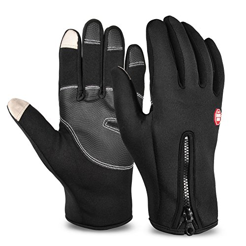 Vbiger Men's Outdoor Warm Touch Screen Cycling Hiking Gloves (Black2 L)