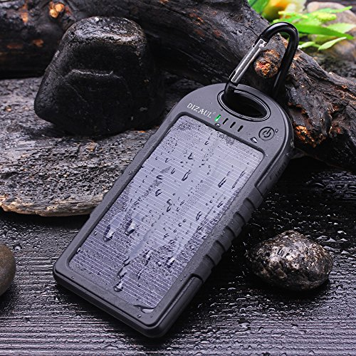 Solar ChargerDizaul 5000mAh Portable Solar Power Bank Waterproof/Shockproof/Dustproof Dual USB Battery Bank for cell