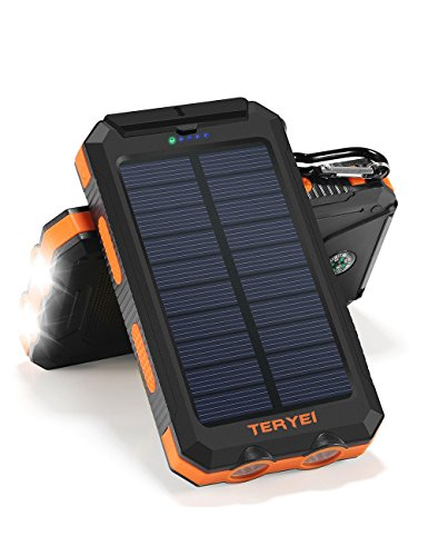 Solar Charger Teryei Solar Power Bank 15000mAh External Backup Outdoor Cell Phone Battery Charger with Dual USB PortDual LED