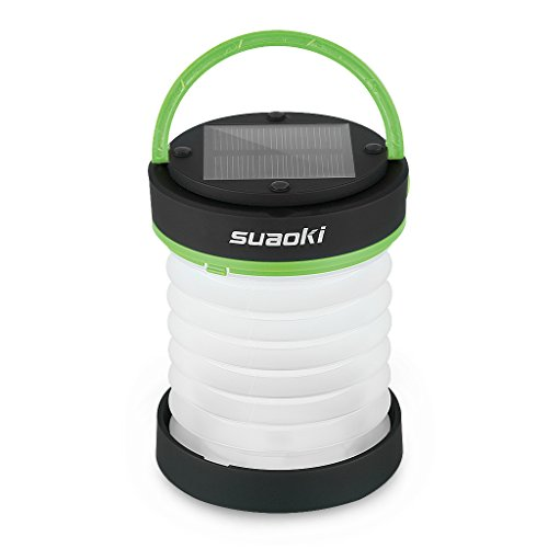 Suaoki Led Camping Lantern Lights Rechargeable Battery (Powered By Solar Panel and USB Charging) Collapsible Mini Flashlight for Outdoor