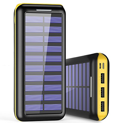 Solar Charger BernetPow 24000mAh Battery Pack High Capacity Solar Power Bank with USB Fan and 3 USB Port External Portable Charger for