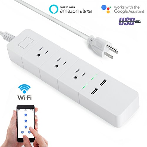 WiFi Smart Power Strip Surge Protector Voice Control with Alexa and Google Assistant 3 Outlets 2 USB Individual Control Timer Switch