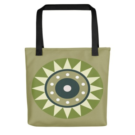 Retro Abstract Aztec Wheel Fabric Tote Bag