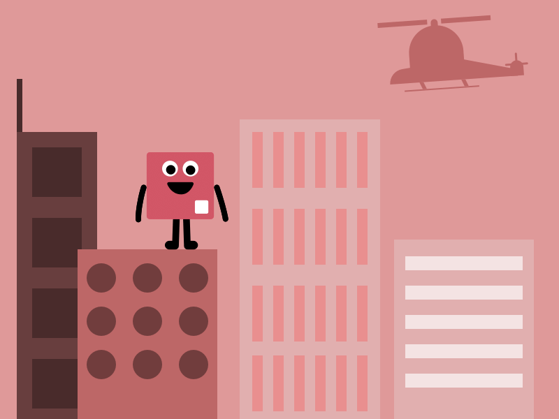 IMAGE: Screenshot of game, pink character jumping off of building with helicopter in background