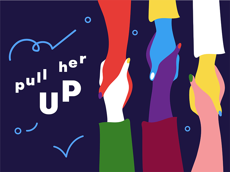 "ILLUSTRATION: Women's hands grasping each other, with text reading ""Pull her up"""