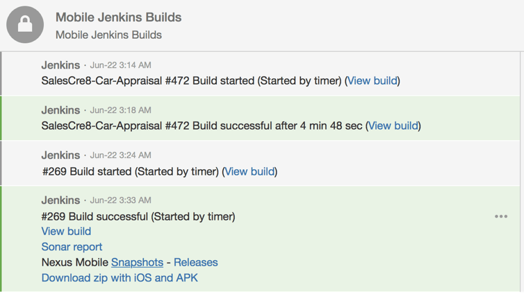 Screenshot of HipChat notification concerning build automation