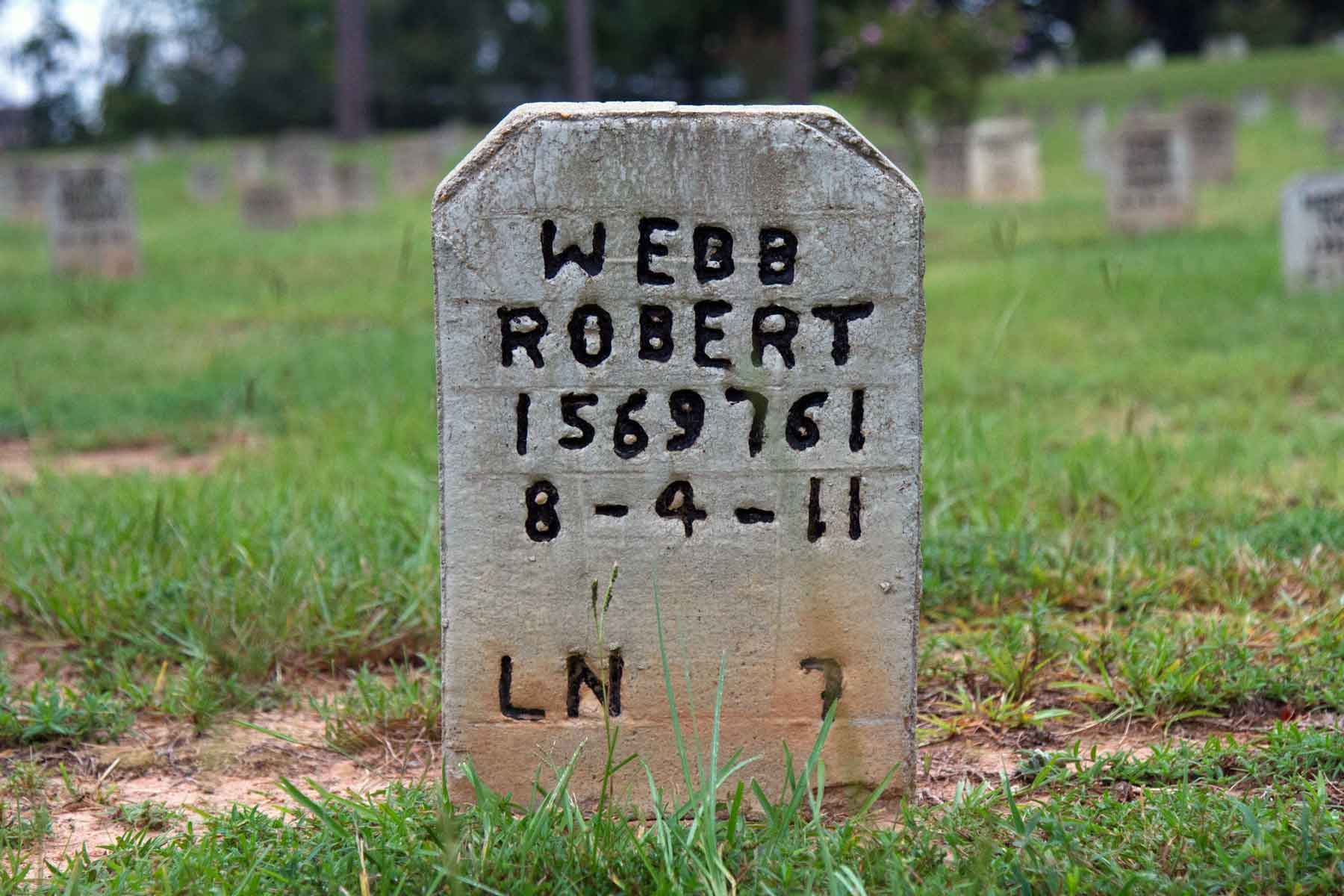 Mr. Webb is buried at the Captain Joe Byrd Cemetery in Huntsville, Texas. He died on a day the heat index was over 104 degrees outside. (Adam Giese)