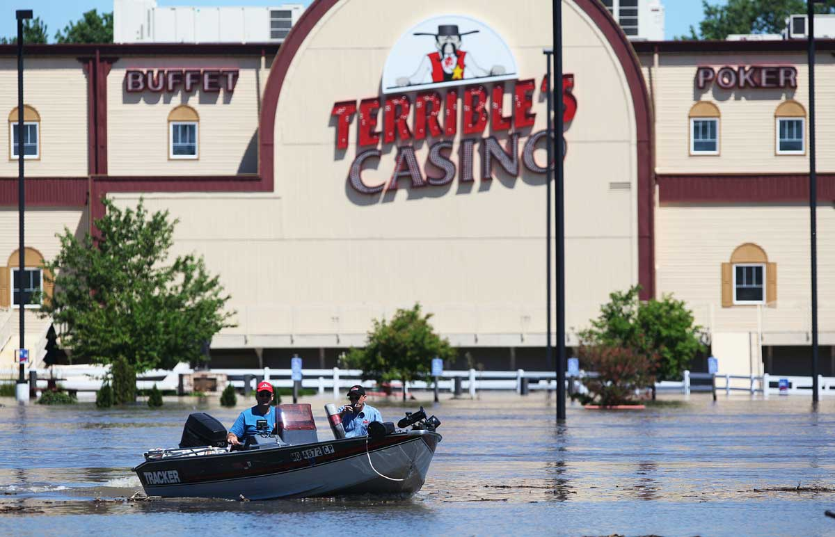 Terrible's Casino, now known as St. Jo Frontier Casino, was surrounded by floodwaters on June 28, 2011, in St. Joseph. (AP Photo/The St. Joseph News-Press)