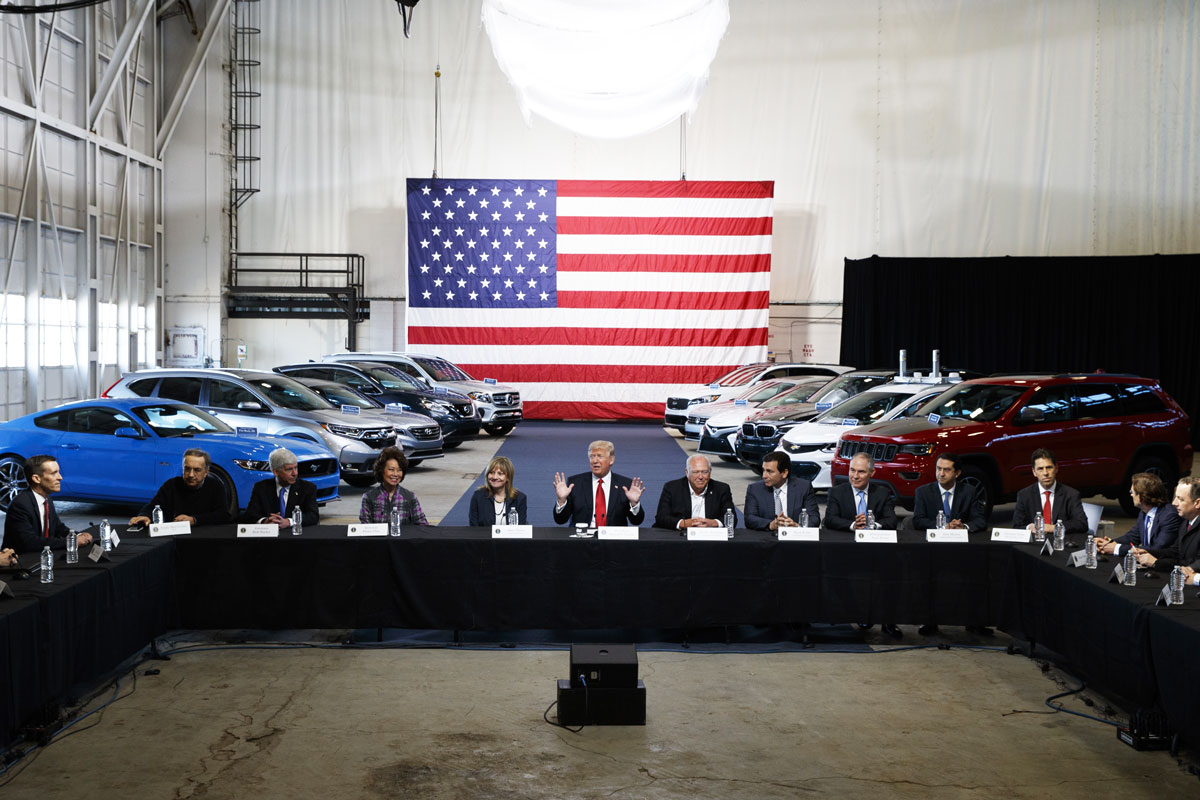 President Donald Trump hosted a roundtable discussion at the American Center of Mobility, on March 15, 2017, in Ypsilanti, Michigan. Moving forcefully against Obama-era environmental rules, the president announced plans to re-examine federal requirements that regulate the fuel efficiency of new cars and trucks. (AP Photo/Evan Vucci)