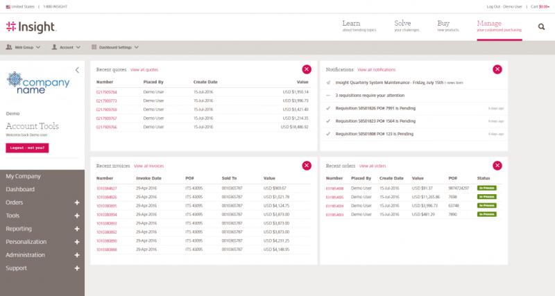 Insight.com Portal Account Dashboard