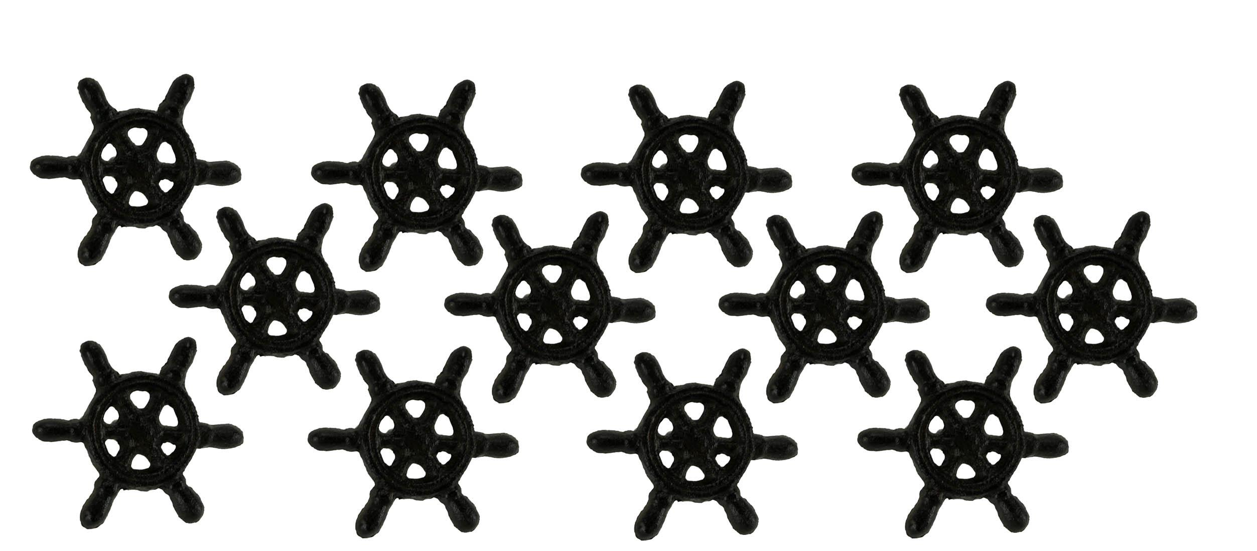 Black Rust Cast Iron Nautical Ship Wheel Drawer Pulls Or