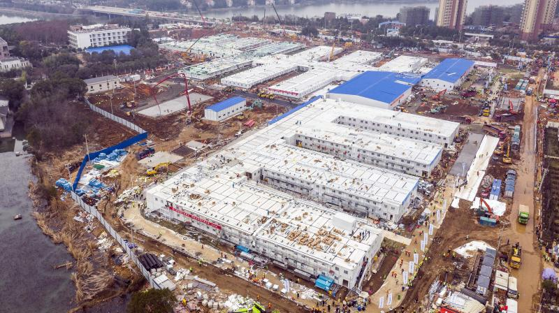 The Huoshenshan temporary field hospital under construction as it nears completion in Wuhan in central China's Hubei Province, Sunday, Feb. 2, 2020. (AP)