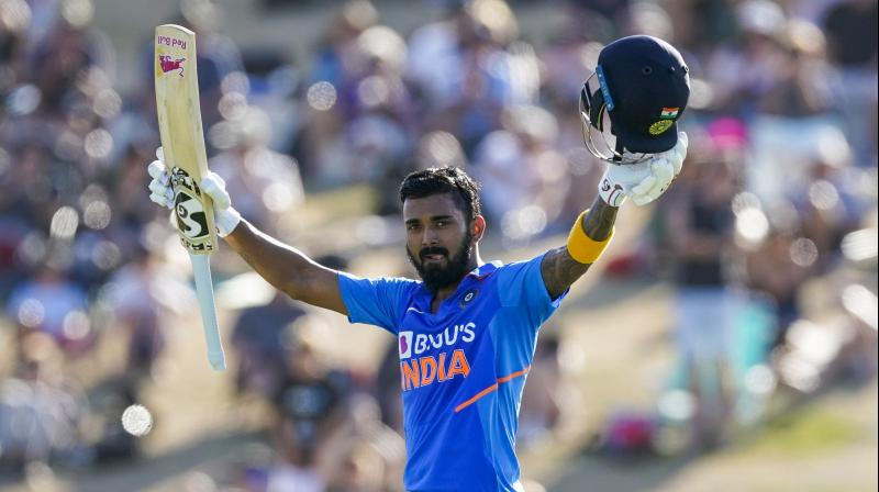 India's KL Rahul celebrates his century during the One Day cricket International between India and New Zealand at Bay Oval in Tauranga, New Zealand, Tuesday, Feb. 11, 2020. New Zealand won the match to complete a whitewash of the series. (AP)