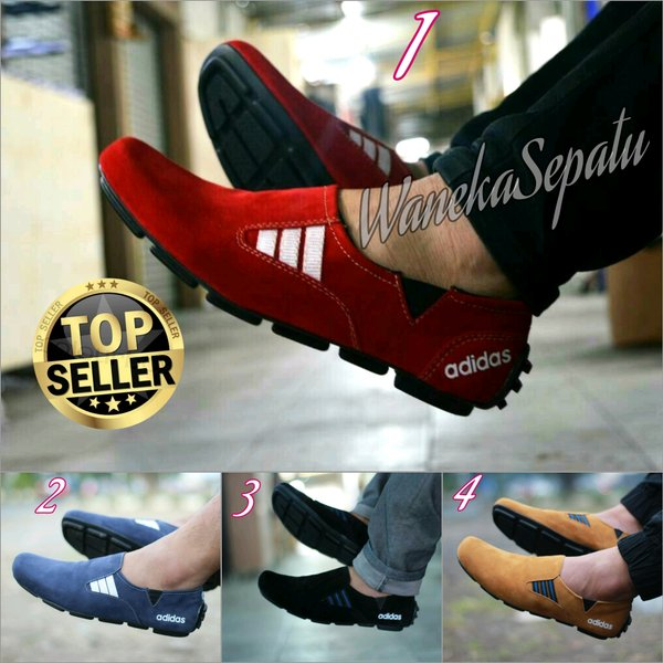 Sepatu Slip On Adidas pria Kulit Sued Casual loafers Slop Sneakers Nike Boots kickers Caterpillar Formal Kets Pria