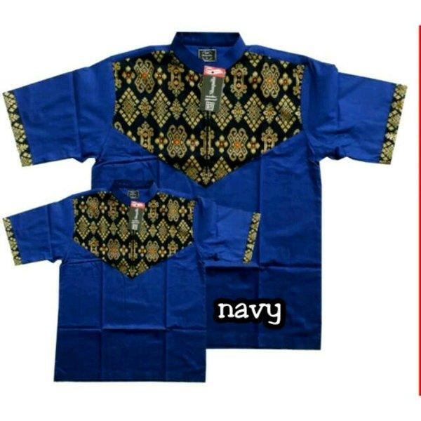 Baju koko couple seragam anak ayah biru navy