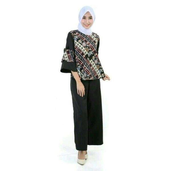 Stelan Blouse Batik Dan Celana kulot - Stelan wanita trendy model terbaru