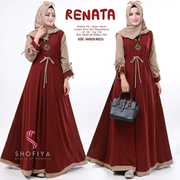 Renata Dress Maroon - Gamis Muslim - Dress Wanita Modern
