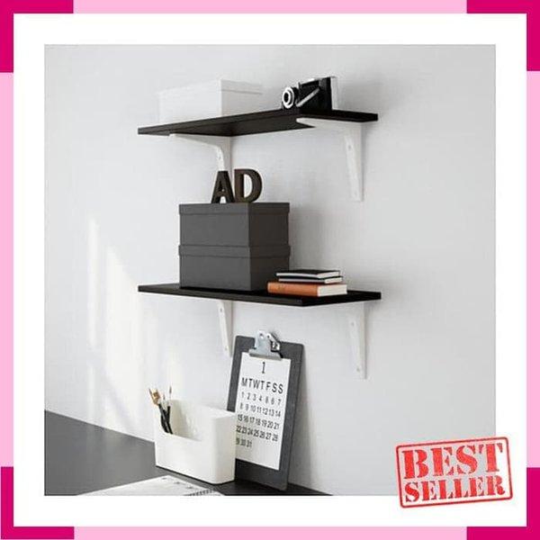 LIMITED Rak Kayu Papan Ambalan Dinding IKEA EKBY LAIVA HitamCoklat 24