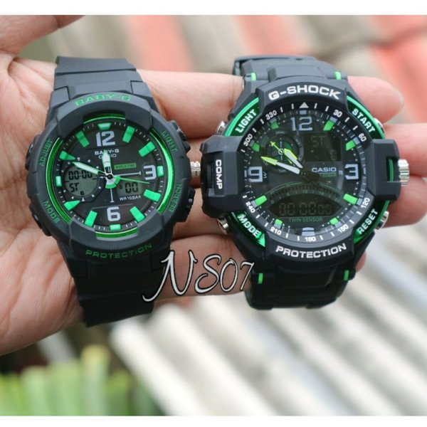 JAM TANGAN COUPLE  CASIO G SHOCK GA 1000 HITAM HIJAU