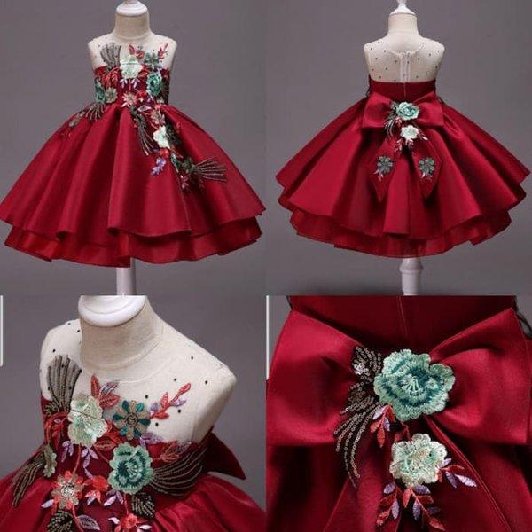 Gaun Pesta Anak Murah Dress Fully Red Flower