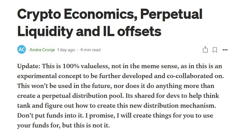 Crypto Economics, Perpetual Liquidity and IL offsets