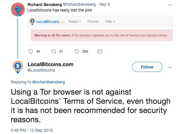 LocalBitcoins: Tor at Risk of Losing Their Bitcoins BTC Richard Bensberg, LocalBitcoins: Tor Users at Risk of Losing Their Bitcoins