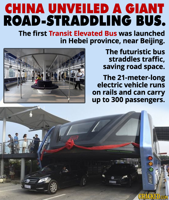China unveiled a new traffic-straddling bus