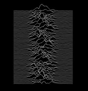 It's an image of <A TARGET=_blank HREF=https://en.wikipedia.org/wiki/Unknown_Pleasures#Artwork_and_packaging>radio waves from a pulsar</A>. There, now you know more about this than 99 percent of people who own the shirt.