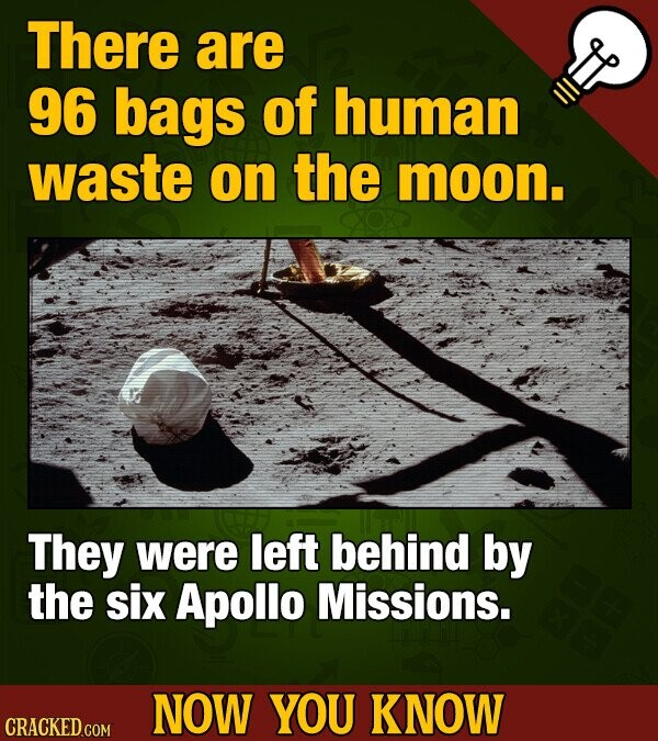 There are 96 bags of human waste on the moon. They were left behind by the six Apollo Missions. NOW YOU KNOW CRACKED.COM