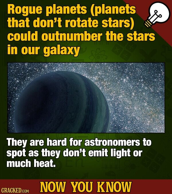 Rogue planets (planets that don't rotate stars) could outnumber the stars in our galaxy They are hard for astronomers to spot as they don't emit light or much heat. NOW YOU KNOW CRACKED.COM